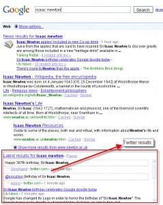 Voorbeeld van tweets in resultaten van Google